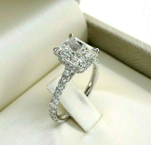 3.14 Carats Radiant Cut GIA G Color Under Halo Engagement Ring Center 2.50Carats