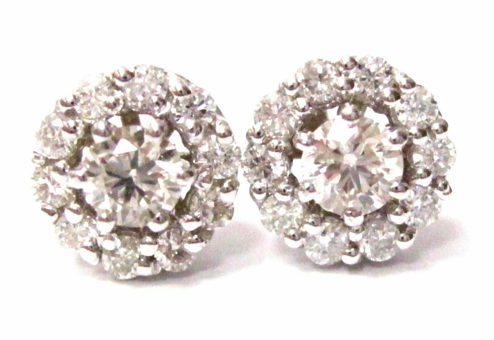 1.28 TCW Round Brilliant Cut Diamond Solitaire Cluster Stud Earrings 14k Gold