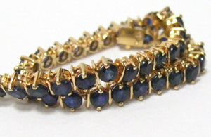 8.00 TCW Round Brilliant Cut Blue Sapphire Tennis Bracelet 14k Yellow Gold