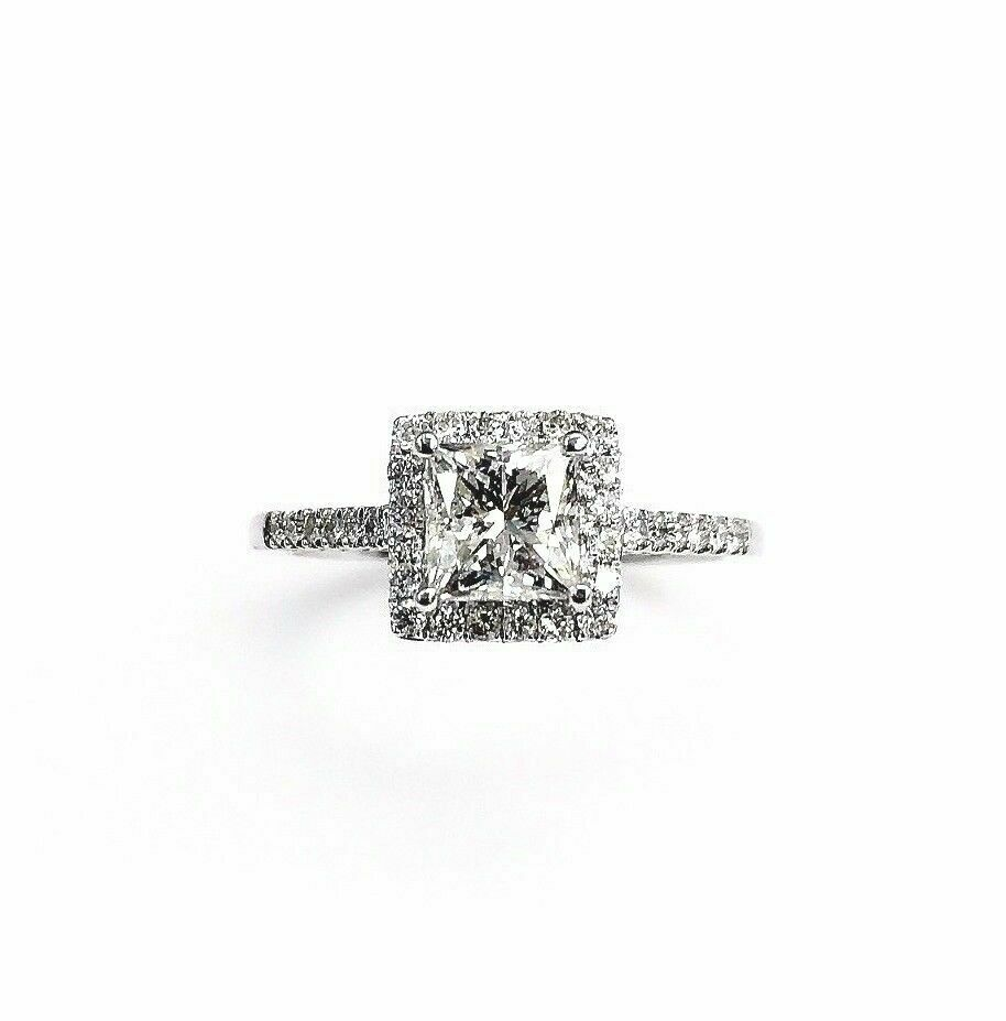 1.01ct Square Princess Cut Diamond Halo & Accents Engagement Ring Size 7 H SI1
