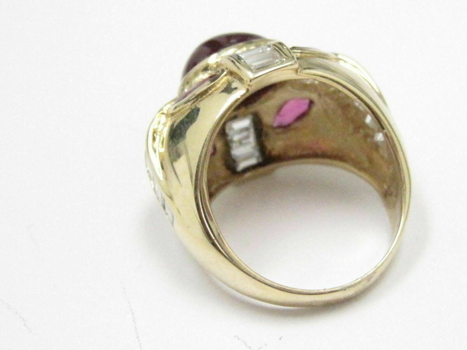 9.50 TCW Marquise, Oval and Baguette Ruby Diamond Ring Size 6.5 18k Yellow Gold