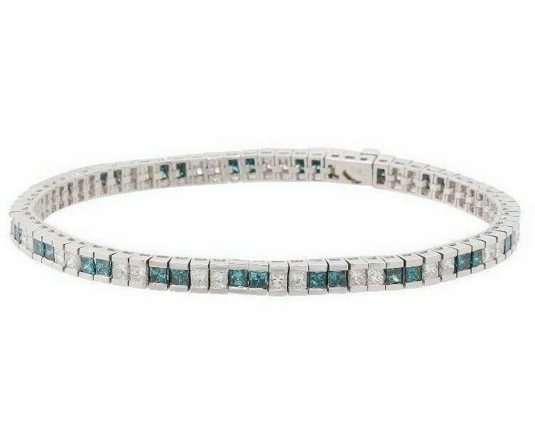 Fine 6.17ct Ladies Princess Cut White & Blue Diamond Tennis Bracelet 14k W Gold