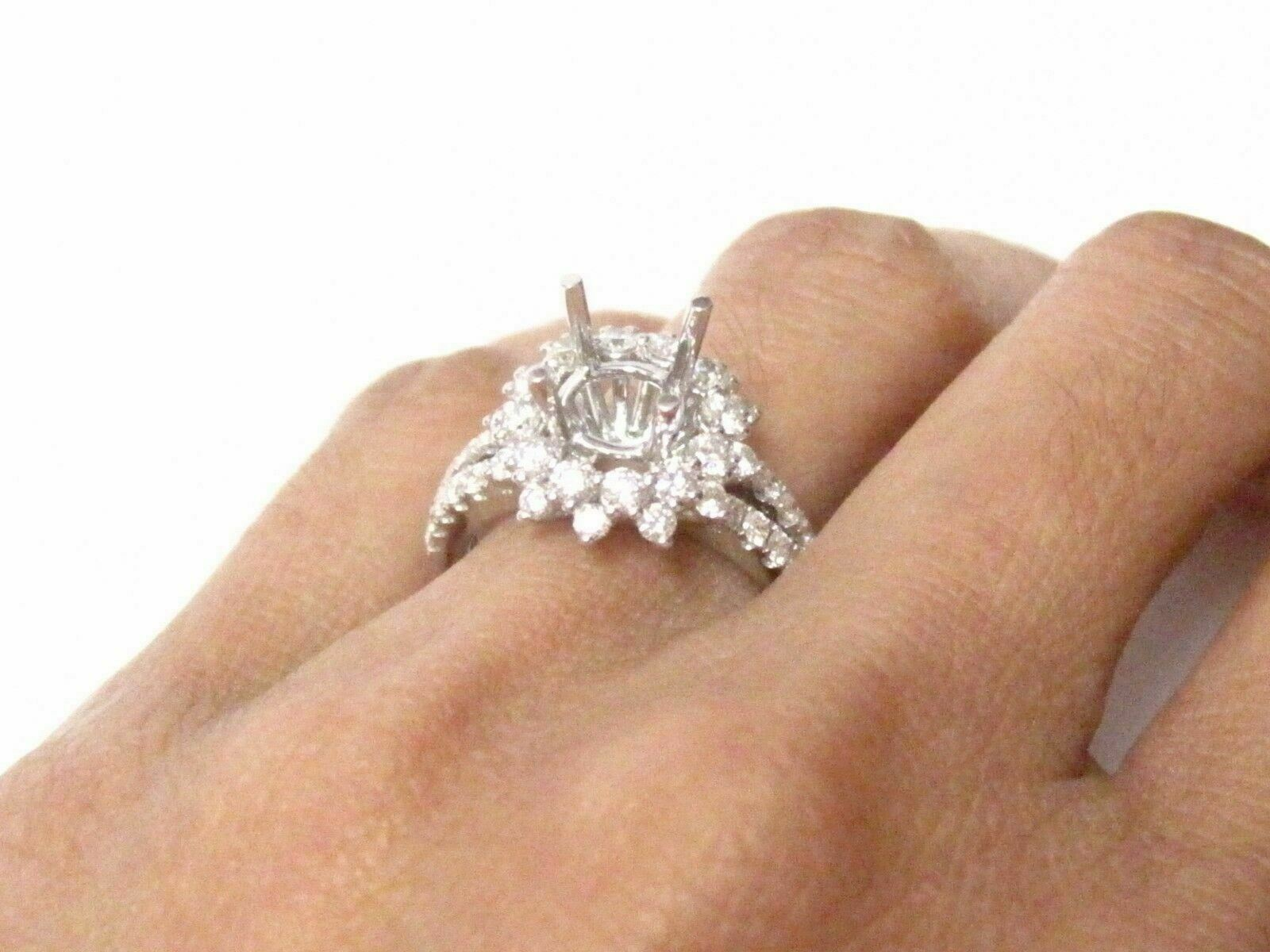 Fine F-VS-1 4 Prongs Wide Semi-Mounting Round Diamond Ring Engagement 18k W/G