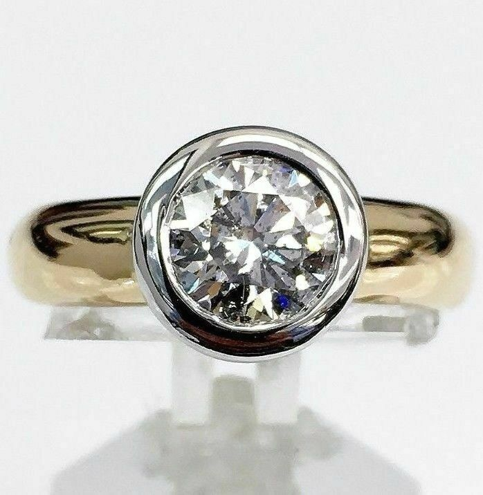 1.06 Carats Round Diamond Solitaire Wedding/Engagement Ring 14K 2 tone Gold
