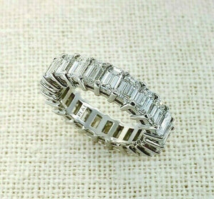 5.34 Carats tw Emerald Cut Diamond Eternity Wedding Anniversary Band Platinum