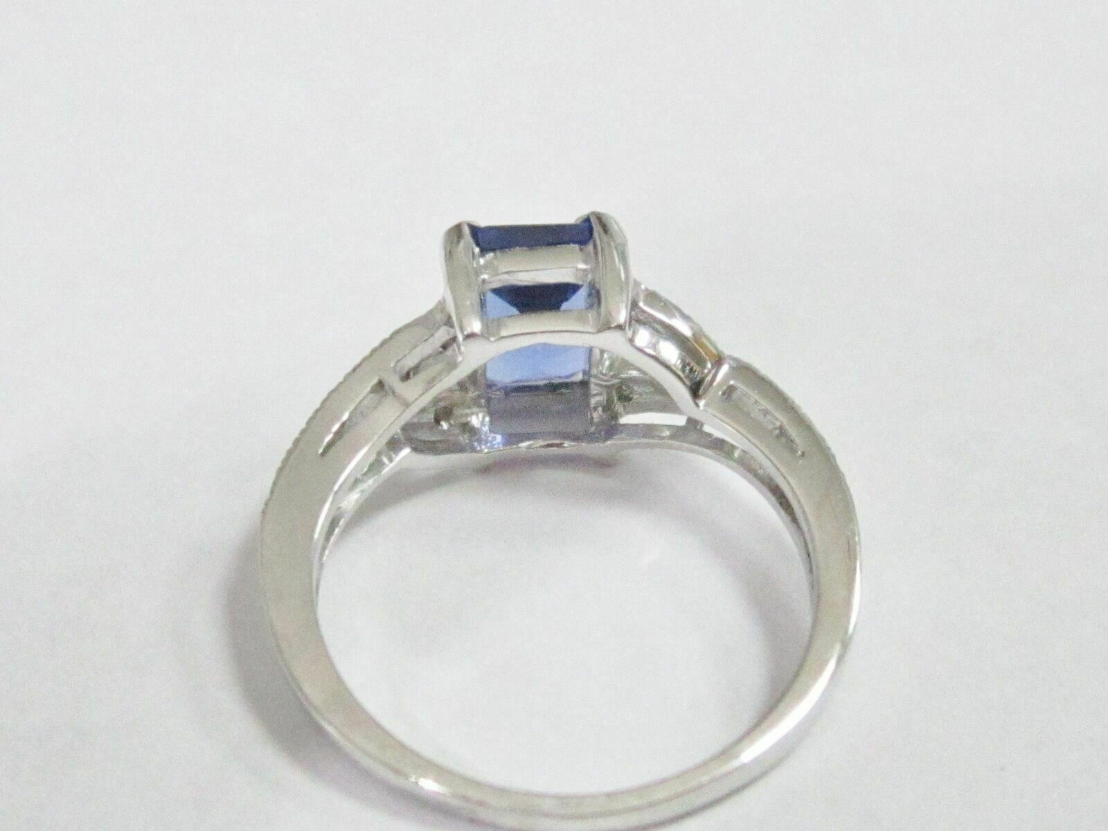 1.91 TCW Natural Radiant Tanzanite & Diamond Accents Solitaire Ring Size 6.5 14k