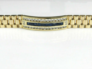 Diamond & Sapphire Bracelet Watch Link Style in Solid 18K Yellow Gold