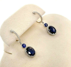 Fine 4.24 Carats t.w. Diamond and Blue Sapphire Halo Dangle Earrings 14K Gold