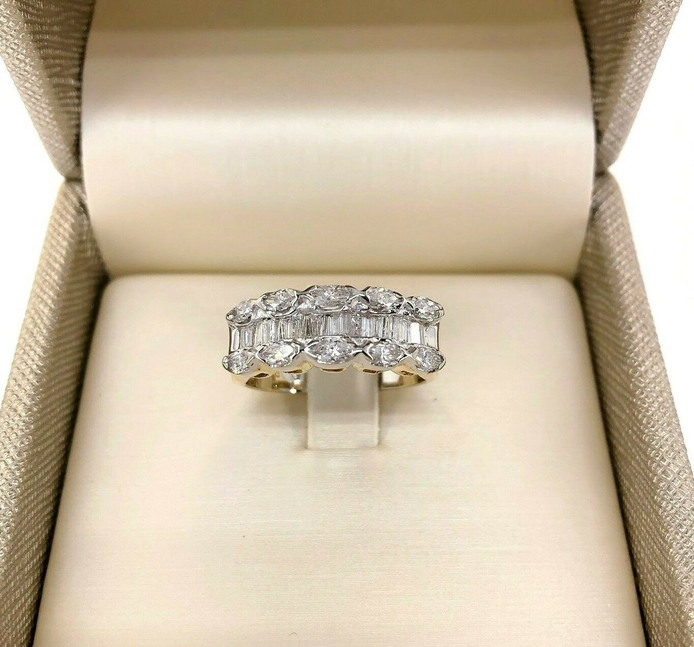 1.15 Carats Marquise & Baguette Diamond Celebration/Anniversary Ring 14K 2 Tone
