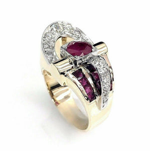 Antique 1.61 Carats t.w. Solid 14 Karat 2Tone Gold Ruby and Diamond Ring 1950's