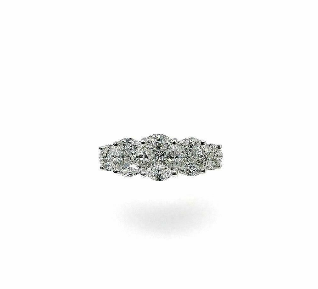 1.74 Carats Diamond Invisible Set Marquise Celebration/Anniversary Ring 18K Gold