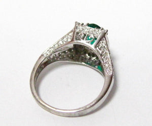 Fine OVAL EMERALD GEM DIAMOND RING 14KT White Gold
