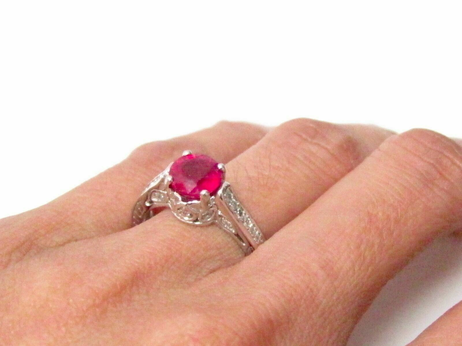 2.14cts Art-Deco Style Round Ruby & Diamond Accents Solitaire Ring Size 6.5 14k