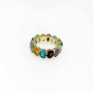 11.75 Carats t.w. Assorted Gemstone Custom Made Eternity Ring 14K Yellow Gold