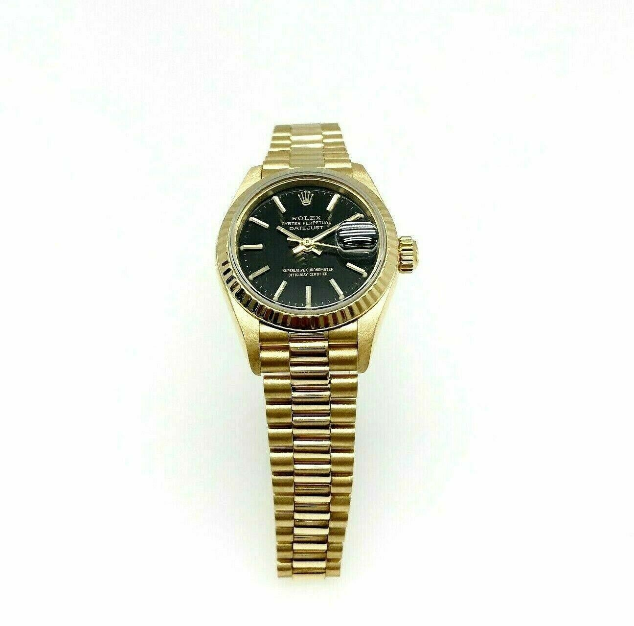 Rolex 26MM Lady President Datejust 18 Karat Yellow Gold Watch Ref # 69178