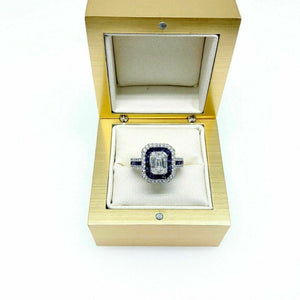 1.43 Carats t.w. Diamond and Sapphire Anniversary Halo Celebration Ring 18K Gold