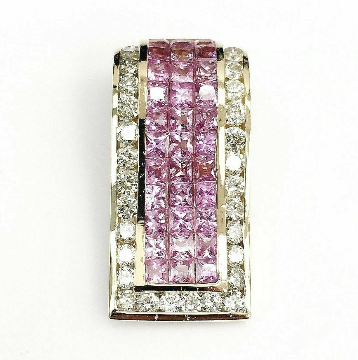 5.90 Carats t.w. Diamond and Pink Sapphire Pendant/Slider 14K Gold Invisible Set