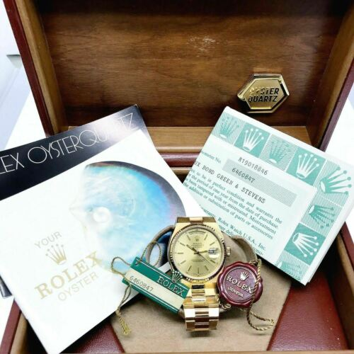 Rolex Day-Date Oysterquartz President Watch 18k Yellow Gold 19018 Box and Papers