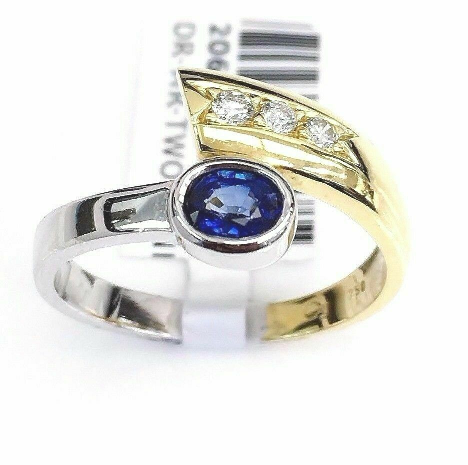 Custom Made 0.53 Carat t.w. Solid 18 Karat Gold Sapphire and Diamond Ring 2 Tone