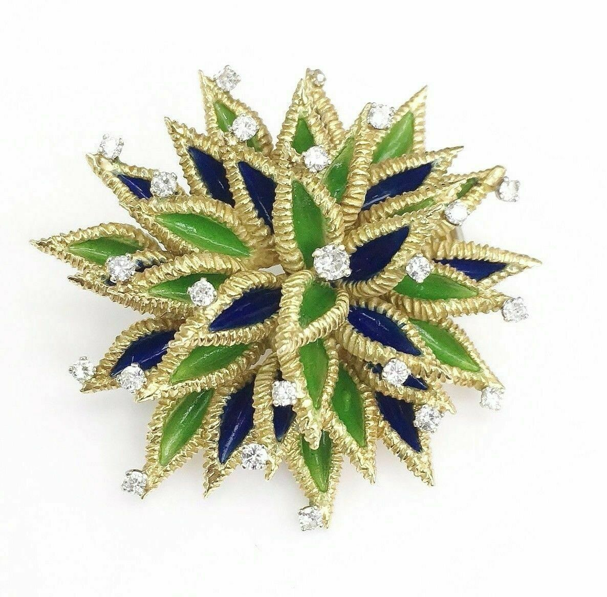 Vintage Custom Made 0.65 Carat Diamond and Enamel Pin/Brooch 18K Gold 30.2 Grams