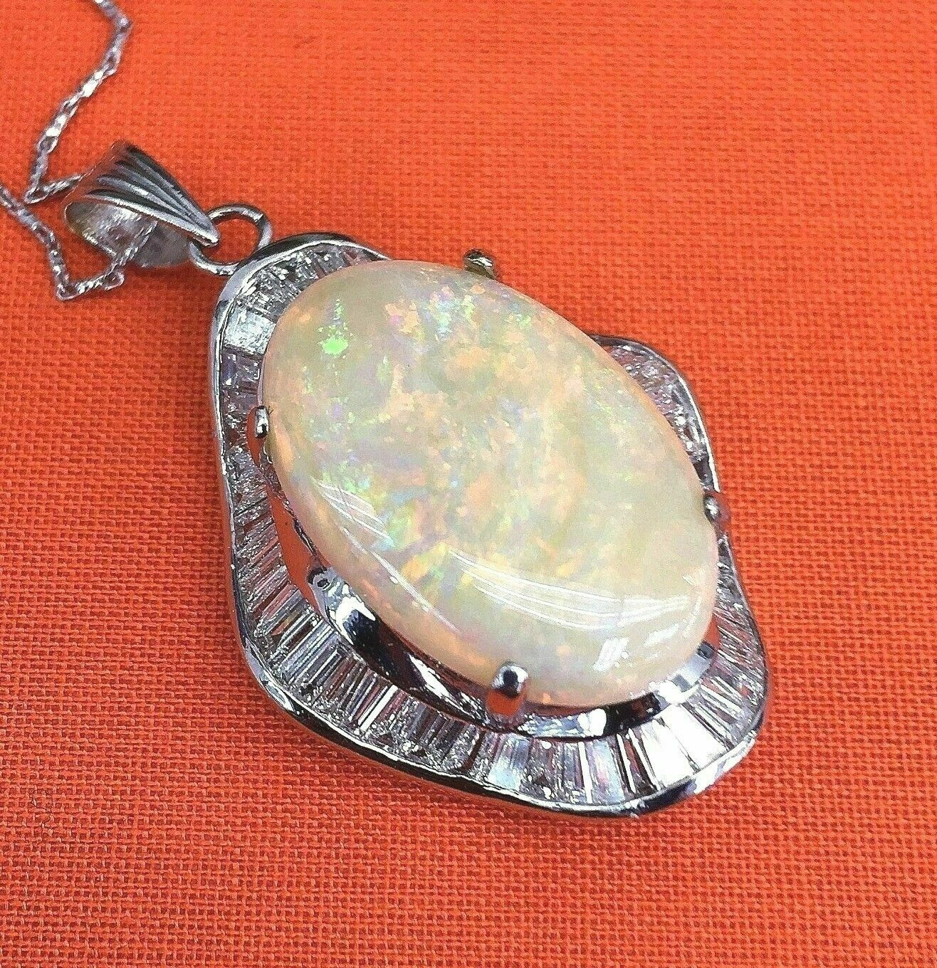 16.20 Carats t.w. Diamond and Opal Pendant w Chain 6 Carats of Baguette Diamonds