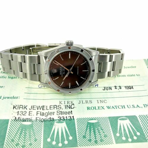 Rolex 34MM Air-King Oyster Watch Stainless Steel Ref #14010 X Serial Box Papers