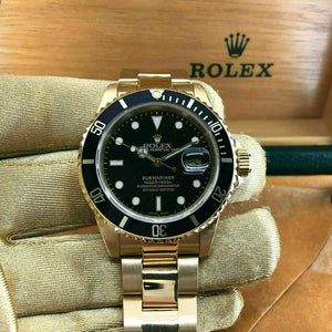 Vintage Rolex 40MM Solid 18K Yellow Gold Black Submariner Date Ref 16808 1984