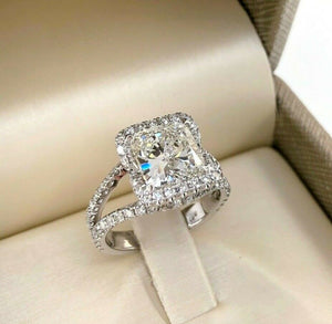 3.40 Carats tw Cushion GIA H Color Halo Split Band Engagement Ring 2.51 Center