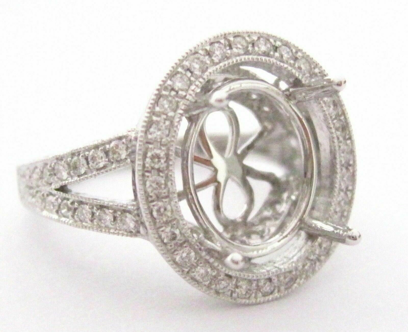 Fine 4 Prongs Semi-Mounting for Oval Diamond Ring Engagement 14k White Gold