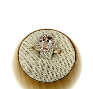 1.65 Carats t.w. Pear Morganite & Diamond Halo Engagement Ring 14K Rose Gold