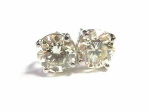 FINE Stud Round 1.47 Ct Diamond Earrings 14kt White Gold 5.6mm