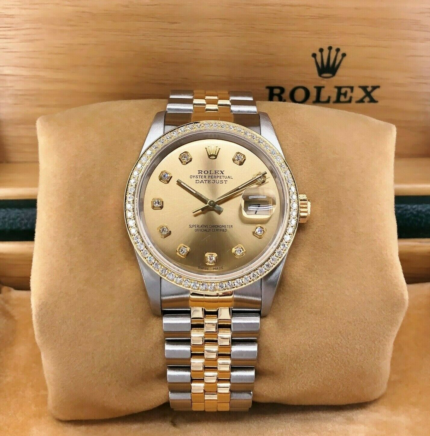 Rolex 36MM 18K Gold and Steel Datejust Diamond Dial & Bezel Jubilee Band Watch