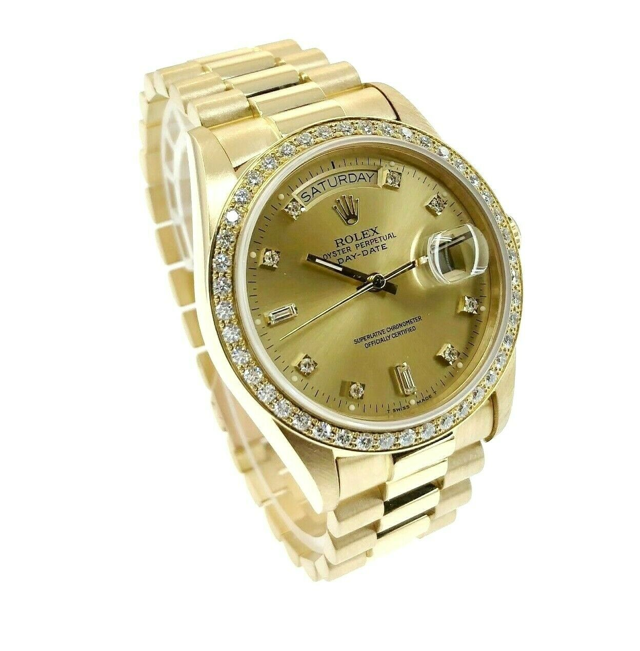 Rolex Day Date President 18K Yellow Gold 36mm Watch 18038 Factory Dial and Bezel