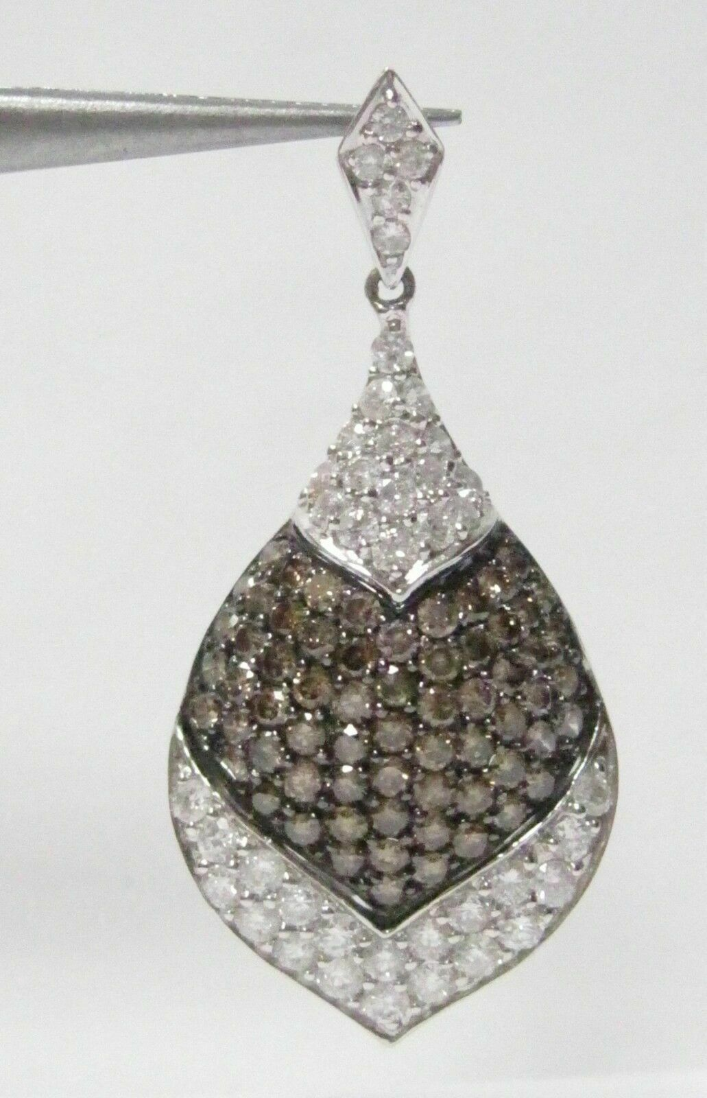 2.18 TCW Natural Round Brilliants Champagne Diamond Pendant 18k White Gold