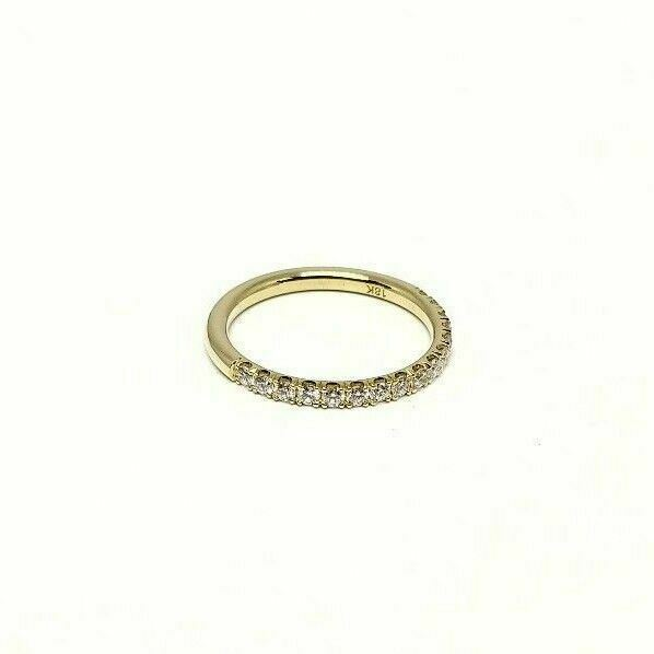 18K Yellow Gold Half Eternity Diamond Band French Pave Microscope Set by Hand