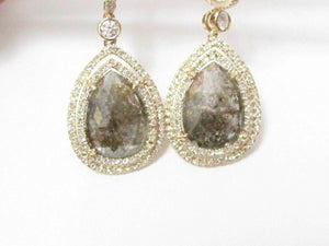 4.10 TCW Natural Pear Shape Fancy Green Diamond Drop/Chandelier Earrings 14k YG