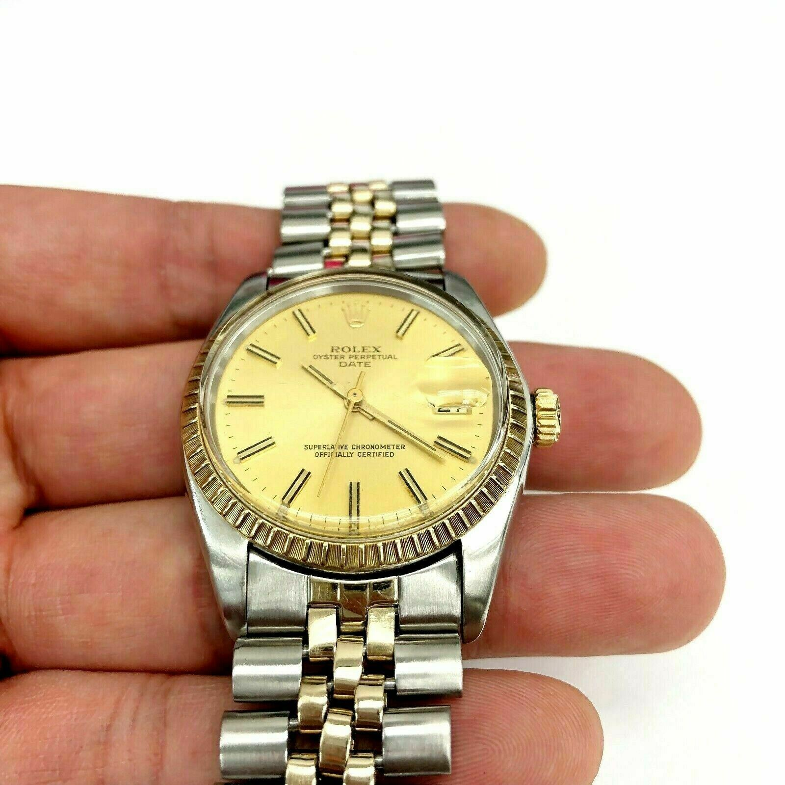 Rolex 34MM Two Tone Date 14K Yellow Gold Steel Watch Ref # 1505 QSet 1970's
