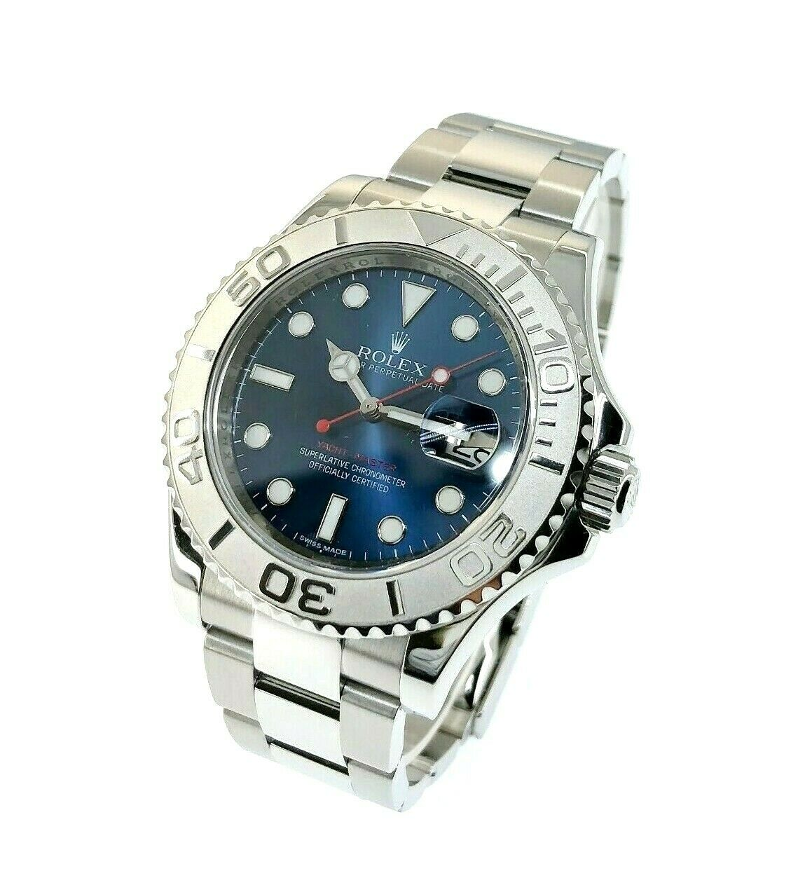 Rolex 40MM Mens Yacht-Master Platinum and Steel Watch Ref #116622 Factory Blue