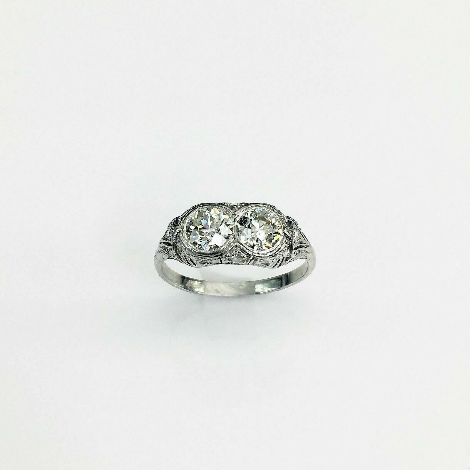 Antique Art Deco Platinum Diamond Wedding Ring Circa 1940's Majority VS Diamonds