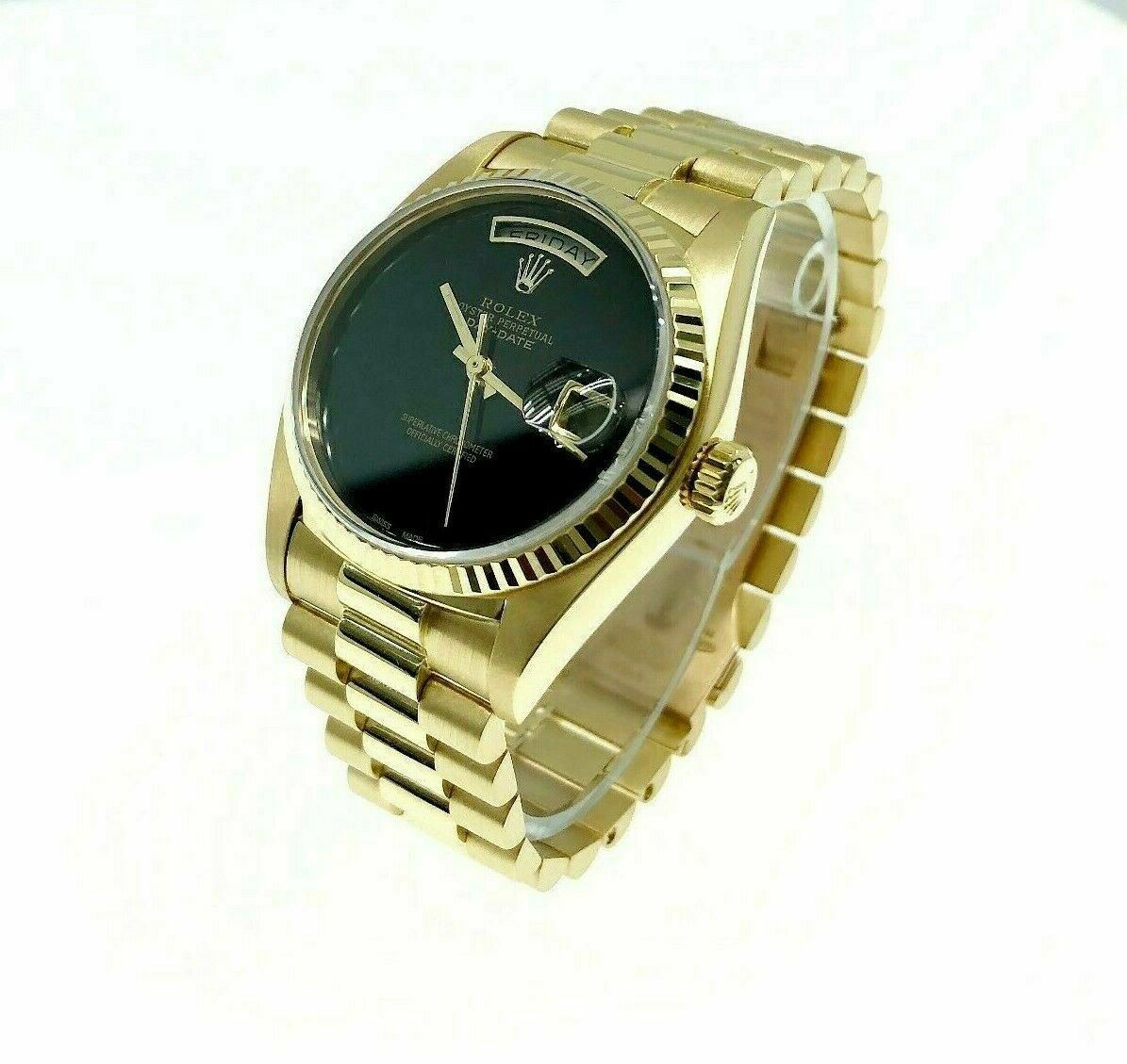 Rolex Day Date 18K President 36mm Watch 18038 Vintage 1980's with Onyx Dial