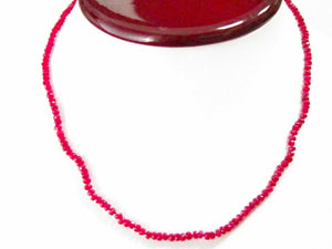 Fine Natural Red Ruby Corundum Bead String Necklace 32 carats 17 Inches Long