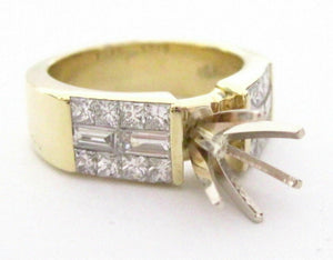 6 Prongs Semi-Mounting for Round Cut Diamond Ring Engagement 18k Yellow Gold