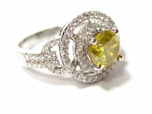 1.52 TCW Round Natural Fancy Yellow Diamond Engagement Ring Size 5.5 18k Gold