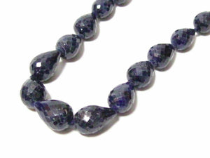 230 Carats Natural Pear Shape Blue Sapphire Strand/String Necklace 18k Gold 19""