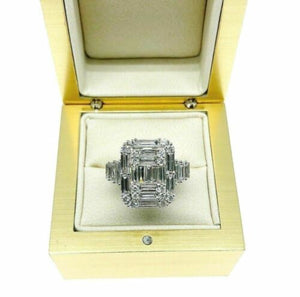 2.65 Carats Diamond Wedding Anniversary Ring Large Invisible Set Halo Center 18K