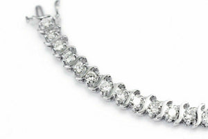 6.90 tcw Round Brilliant Diamond Tennis Bracelet in 14K White Gold Accent Set