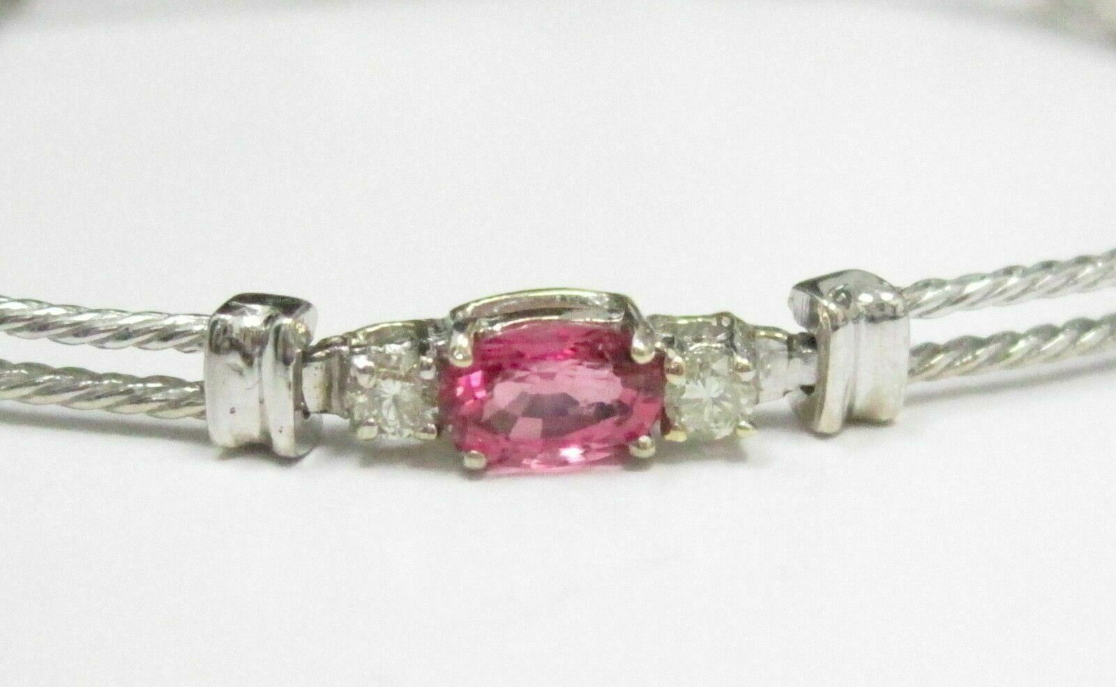 3.76 TCW Round Brilliant Diamonds and Oval Tourmaline Bracelet 14kt WG