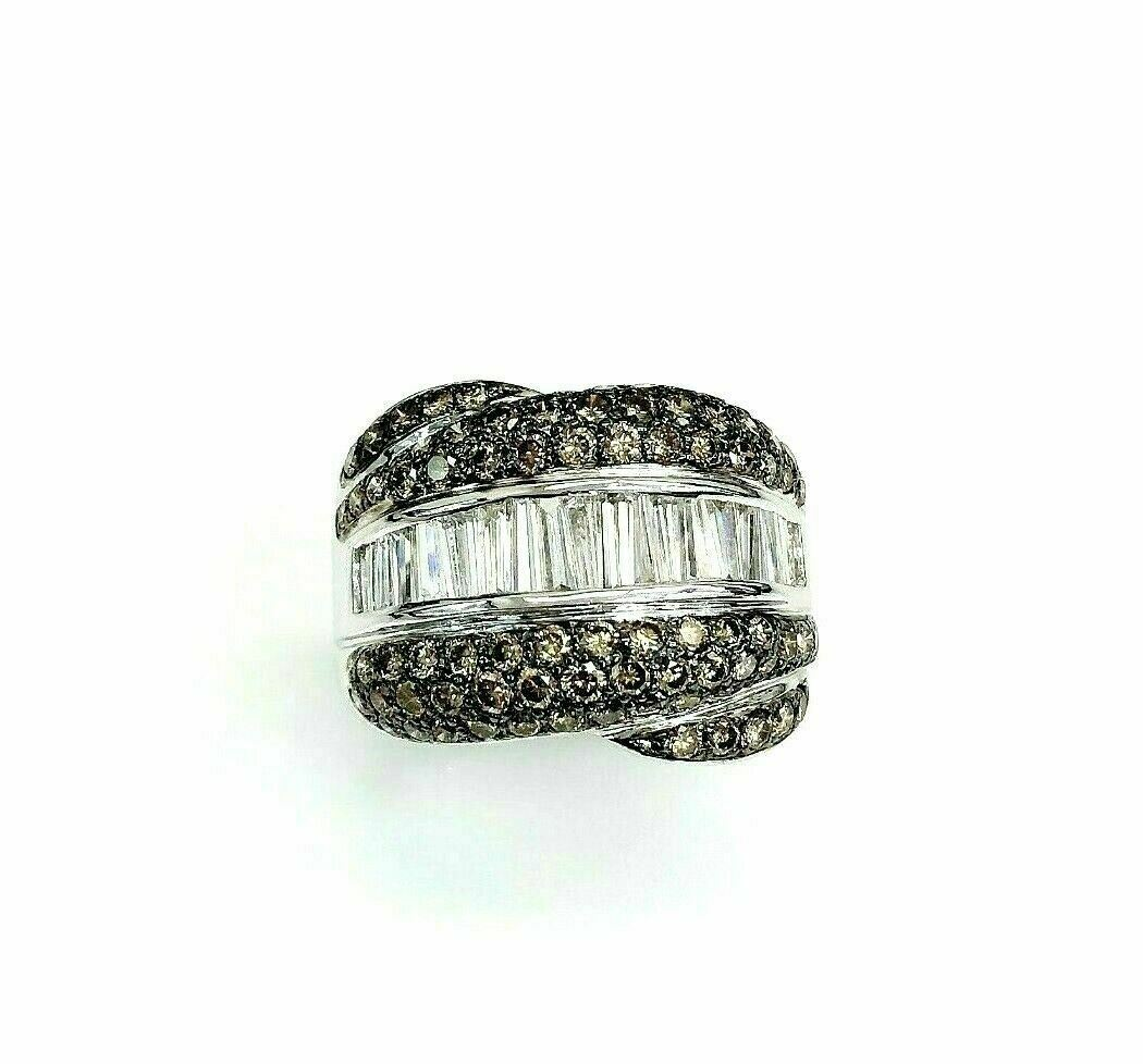 3.25 Carats Natural Round White and Fancy Brown Diamond Ring 18K Whiet Gold