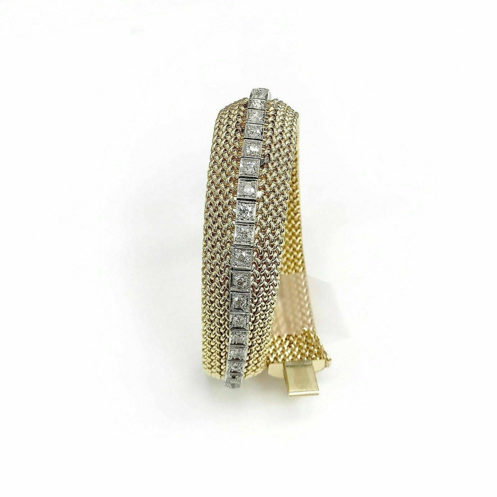1970's Mesh 5.12 Carats Old Euro Diamond Bracelet Solid 14K 2 Tone Gold 60 Grams