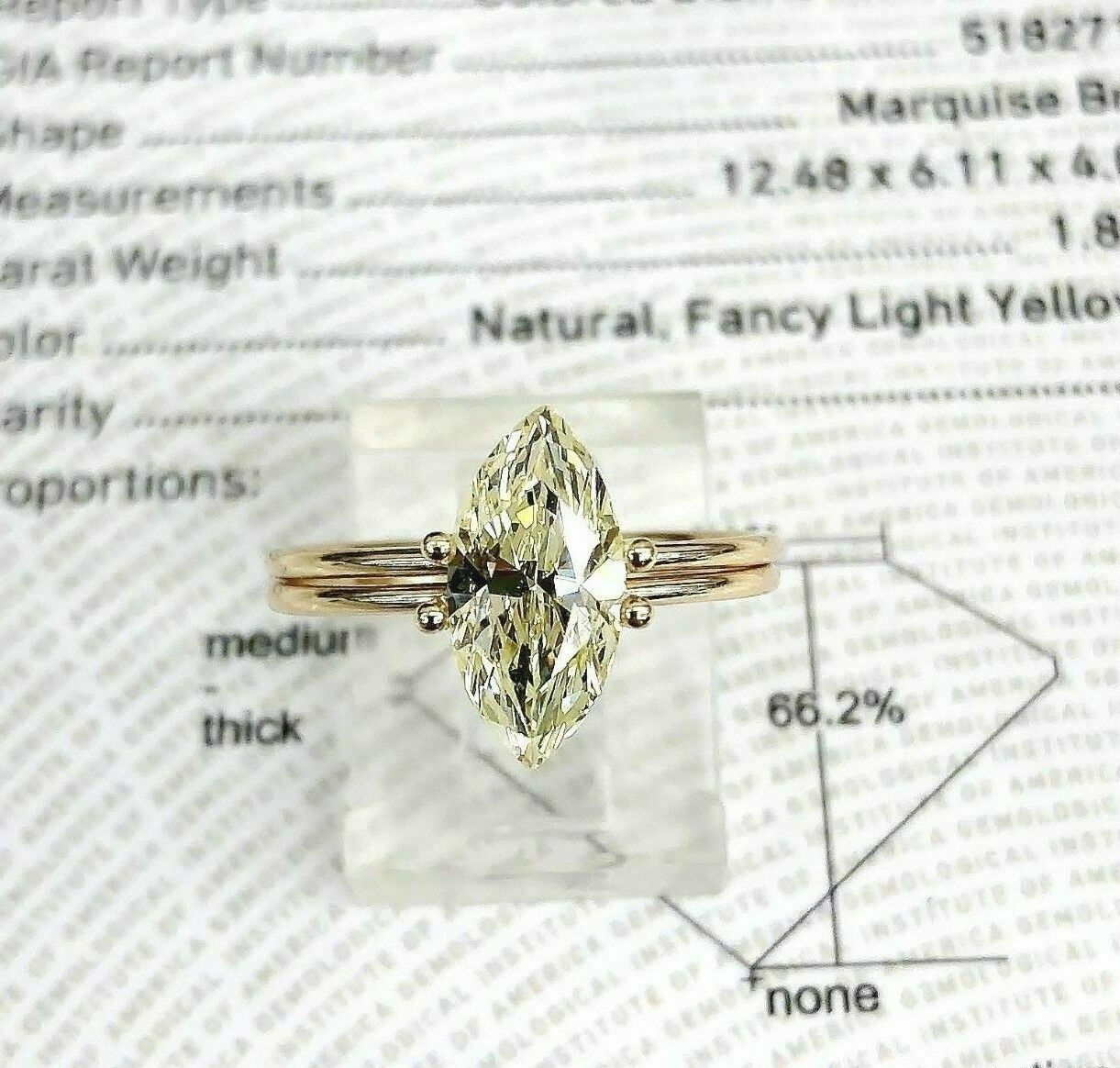 Loose GIA Diamond - Fancy Yellow Marquise Cut 1.80 Carats GIA SI2 Diamond